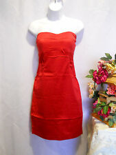Women Dress BODY CENTRAL Red Strapless Zip Fitted A-Line Ruched SIZE M