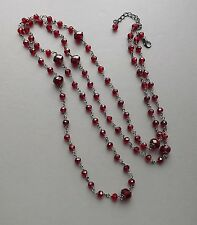 Long cherry red crystal glass bead necklace .. silver tone dark glam jewelry