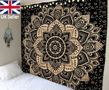 Ombre Indian Mandala Tapestry Hippy Gypsy Bohemian Wall Hanging Black Gold Sheet