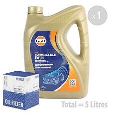 Engine Oil and Filter Service Kit 5 LITRES Gulf Formula ULE 5w-30 5L