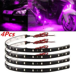 4Pcs Purple Super Bright 15LED 30CM Car Motorcycle Grill Flexible Light Strip