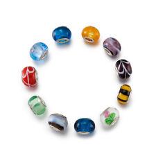 200pcs Colorful Lampwork Glass European Beads Large Hole Bracelet Charms 14x10mm