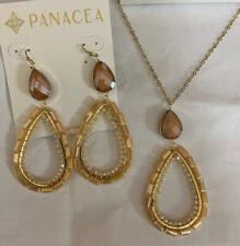 "Panacea Goldtone & Neutral Crys 3"" Drop Statement Earring & Long Necklace Set"