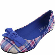 New women's ballet flat ballerina fabric blue bow checkers and Plaid casual work