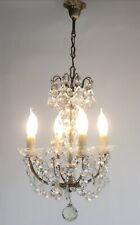 Vintage French Petite Chandelier 4 Arm Crystal Ceiling Light