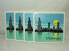 Set Of 4 Chicago Night Skyline 6x6 Ceramic Incepa Tiles Made In Brazile