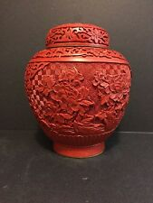 Old  Chinese Carved Red  Cinnabar Jar/vase With Blue Enamel &Bronze
