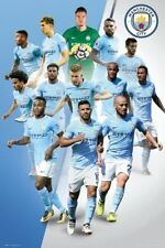 MANCHESTER CITY PLAYERS COLLAGE - 2018 POSTER 24x36 - SOCCER FOOTBALL 34288