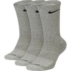Nike Everyday PLUS Dri-Fit cushioned Crew socks 3 Pack Gray  XL Extra Large