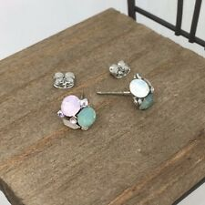 High Quality Multi Color Crystal Titanium Stud Earrings US Seller Made in Korea