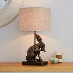 Beautiful Hare Rabbit Licking Paw Antique VINTAGE Style Table Lamp - Brass