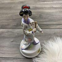 Vintage Japanese Geisha  Figurine Music Box Oriental Made In Japan