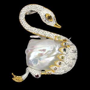 Sapphire Multi-Color Round Diamond Cut Pearl 925 Sterling Silver Swan Brooch