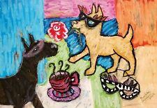 Bullterrier Masquerade Art Print 4x6 Dog Impressionism Signed Artist Ksams