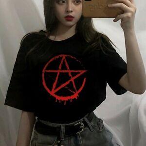 Pentagram Blood Drip Killstar Banned Black Gothic Punk Harajuku Grunge T Shirt