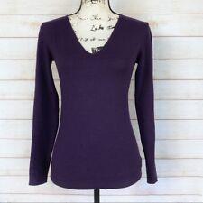 Women's Theory Purple Wool V-Neck Sweater Size XS Petite