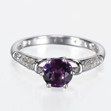 Jewellery Natural Purple Amethyst Engagement Diamond Ring Womens 10K White Gold