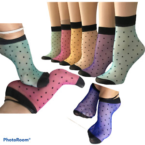12 Pairs Colours Mix Women Nylon Lace Ultra thin Sheer Ankle High Pop Dots Socks