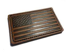 """Forward 3"""" X 2"""" Genuine Leather American Flag (hook/loop) Morale patch"""