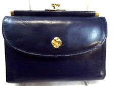 Samsonite Women's Wallet, Blue Leather, Small, French Style, Trifold, Vintage