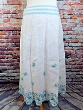 PER UNA panelled skirt 12 R white teal blue green 100% linen embroidered M&S