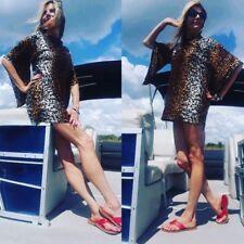 Vintage 60s 70s Cheetah Leopard TARZAN SEXY MINI Dress  FLARE Hippie Sleeves S