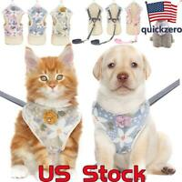 US Elegant Flower Cats Dog Harness Leash  Puppy Vest Breathable Small Pet Dogs