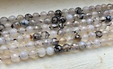 """14"""" Strand Dragon Vein Agate Faceted Gemstone 6mm Rounds, Approx 62 Beads"""