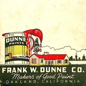 1930s DUNNE PAINTS vintage color swatch brochure HOUSE PAINT COLORS Oakland, CA