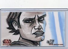 ANAKIN Topps STAR WARS CLONE WARS Widevision SKETCH by BRYAN MORTON *50 MADE*