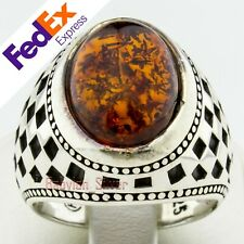 Natural Amber Stone 925 Sterling Silver Turkish Handmade Men's Ring All Sizes