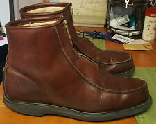 """Double H Insulated Stadium Boots Zip Ankle Men Sz 13 D USA 6"""" 5334 Brown Leather"""