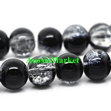 50 x Glass beads crackled crackle round black clear necklace bracelet 8mm girls