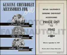 1940 Chevrolet Accessory Catalog Set 40 Chevy Car and Truck Pictures Part Nos