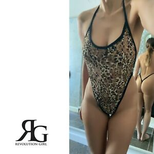 Leopard Print Lace Sheer Backless One Piece Thong Lingerie by Revolution Girl