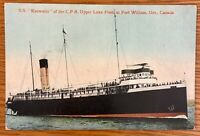 ONTARIO CANADA SS KEEWATIN OF THE CPR UPPER LAKE FLEET FT WILLIAM POSTCARD E68