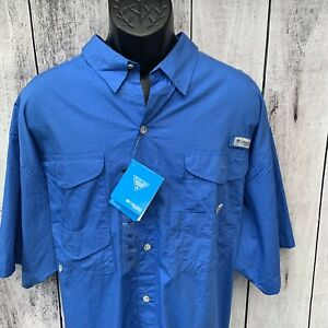 Men's Columbia PFG Short Sleeve Button Down Shirt Blue Size 2XLT Tall