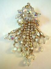 ***** [SR] Lovely Vintage Gold-Tone Rhinestone Dangle Brooch (Pin) 47 gm. *****