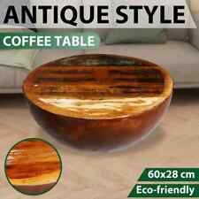Bowl Shaped Coffee Table Solid Reclaimed Wood Steel Base Antique Vintage Retro