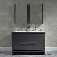"BLOSSOM 48"" MILAN MODERN DOUBLE SINK BATHROOM VANITY IN GREY WITH MED.CABINETS"