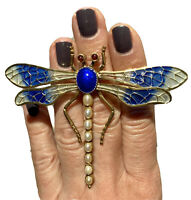 HUGE Plique A Jour FWP Pearl Mid-Century Modern Dragonfly Vintage Brooch Pin