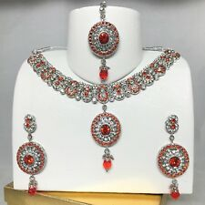 Silver & Orange Necklace Earring & Tikka set Indian Jewellery Pakistani Style
