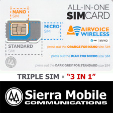 Airvoice Triple Sim Mini + Micro + Nano • Gsm 4G Lte • At&T • With Tracking