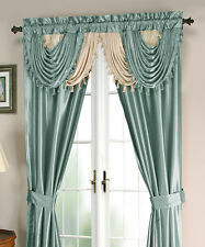 Luxurious AMORE Panel w attached valance 5 pc.window curtain set -  Blue
