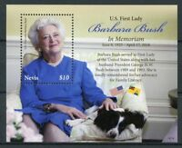 Nevis 2018 MNH US First Lady Barbara Bush in Memoriam 1v S/S Dogs People Stamps