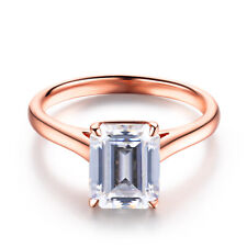 Emerald Cut 9X7mm 2.2ct Cubic Zirconia Engagement Wedding 14K Rose Gold Ring