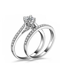 Pave 2 Ct CZ Silver SP Engagement Promise Simulation Double Ring 32