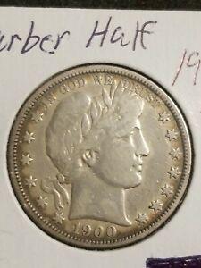 1900 P Barber Silver Half Dollar Coin VF