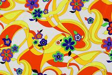 Lycra fantasia floreale anni '70 STOFFA AL METRO TESSUTO A METRAGGIO