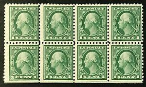 US SC# 424 1914  1c Block of 8  perf:10 w/water mark (fragment) MNH OG VF 16-21